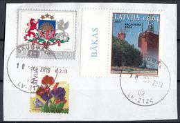 Lettonia 2018 Coat Of Arms Stemma Fiori Flowers - Lighthouse Faro - Used Frammento Lettland Latvija - Latvia