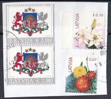 Lettonia 2015-2018 Coat Of Arms Stemma Fiori Flowers  Used Frammento Lettland Latvija - Latvia
