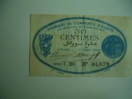 Alger Chambre De Commerce   Billet Necessite 50 C - Handelskammer