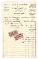 FACTURE 1936 A. MIGNARD SOISSONS AISNE - ARMES WILMART FRANCOTTE LIEGE - Mr RIGAUT PISTOTEL AUTO 6/35 - SANTUS - Other