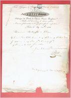 FACTURE 1831 PARIS TOUR SAINT JACQUES LA BOUCHERIE FABRIQUE PLOMB DE CHASSE BALLE CHEVROTINE POUR MITOUFFLET A BROU 28 - Frankreich