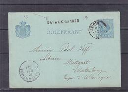 Pays Bas - Carte Postale De 1882 - Entier Postal - Oblit Leiden - Exp Vers Stuttgart - Avec Griffe Katwijk Binnen - Cartas