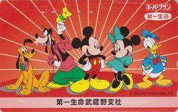 JAPAN  - TC JAPON / 110-178462 Teleca  - DISNEY ENTERPRISES - DONALD MICKEY MINNIE Dingo Goofy Pluto Dog Phonecard - Disney