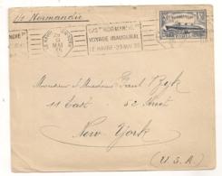 Cachet LE HAVRE NEW-YORK 29 MAI 1935 S/S NORMANDIE VOYAGE INAUGURAL   C754 - Maritieme Post