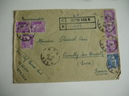 Recommande De Fortune Obliteration  B P M  B P M 523 B  6 Timbre Marianne Gandon 10 F Violet - 1921-1960: Période Moderne