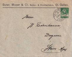 SUISSE 1921  ENTIER POSTAL/GANZSACHE/POSTAL STATIONARY LETTRE TSC DE ST-GALLEN - Postwaardestukken