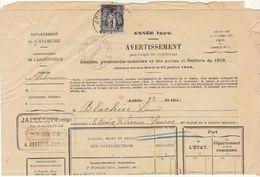 1c Sage O. Cad Joyeuse  Ardèche / Avertissement 1899 De Labeaume - 1877-1920: Semi Modern Period