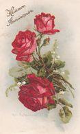 """Illust. C. KLEIN . Fleurs . 3 ROSES Rouges Et Brins De Muguet  ( Verticale ) """"Heureux Anniversaire"""" . Ref. B.R.605 - Klein, Catharina"""