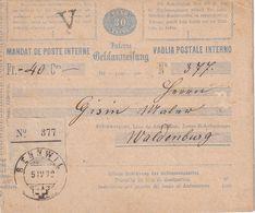 SUISSE 1879   ENTIER POSTAL/GANZSACHE/POSTAL STATIONARY MANDAT DE POSTE INTERNE DE BENNWIL - Stamped Stationery