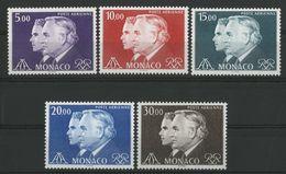 """MONACO POSTE AERIENNE N° 100 à 104 Cote 43.5 € Neufs ** (MNH). """"Prince Rainier III Et Albert"""". TB - Airmail"""