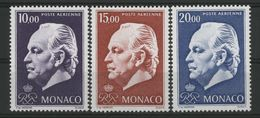 """MONACO POSTE AERIENNE N° 97 à 99 Cote 41.5 € Neufs ** (MNH). """"Prince Rainier III"""". TB - Airmail"""