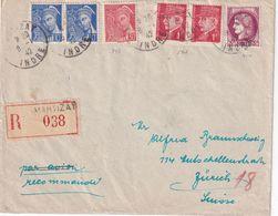 FRANCE 1942 LETTRE RECOMMANDEE DE MARTIZAY AVEC CACHET ARRIVEE ZURICH - 1921-1960: Periodo Moderno