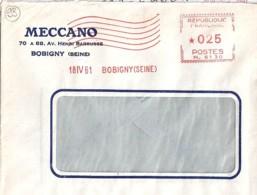 "93 . SEINE ST DENIS - BOBIGNY - TAD DE TYPE ENTETE ""MECCANO"" - 1961 - Postmark Collection (Covers)"