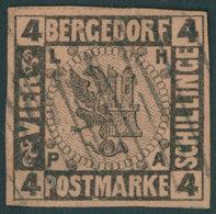 BERGEDORF 5 O, 1861, 4 S. Schwarz Auf Mattbraunorange, Rückseitig Teilweise Hinterlegt, Bildseitig Breitrandiges Farbfri - Bergedorf