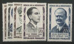 N° 1100 à 1104 SERIE DES HEROS DE LA RESISTANCE Cote 9 € Neufs ** (MNH). TB - France