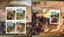 Salomon 2015, 100th Of WWI, Battle Of Ypres, Generals, 4val In BF +BF IMPERFORATED - Militaria