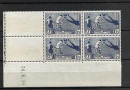 Coin Daté  En Bloc De 4 Neuf** 396 Yt Coupe Du Monde Football 1938 Cote 175 Eur - 1930-1939