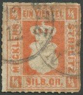 MECKLENBURG-STRELITZ 1a O, 1864, 1/4 Sgr. Schwärzlichrotorange, K1 NEUSTRELITZ, Stark Repariert, Signiert U.a. Ressel, M - Mecklenburg-Strelitz