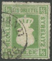 MECKLENBURG-STRELITZ 2a O, 1864, 1/3 Sgr. Olivgrün, K1 FRIEDLAND, Repariert Wie Pracht, Gepr. Berger, Mi. (1700.-) - Mecklenburg-Strelitz