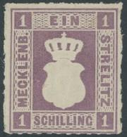 MECKLENBURG-STRELITZ 3 *, 1864, 1 S. Grauviolett, Falzrest, Kabinett, Gepr. Pfenninger, Mi. 370.- - Mecklenburg-Strelitz