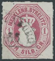 MECKLENBURG-STRELITZ 4 O, 1864, 1 Sgr. Dunkelrosarot, Segmentstempel, Pracht, Gepr. U.a. Starauschek, Mi. 240.- - Mecklenburg-Strelitz
