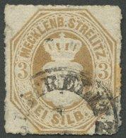 MECKLENBURG-STRELITZ 6 O, 1864, 3 Sgr. Schwärzlichbraunocker, K1 ALTSTRELITZ, Stockflecken Am Rand, Fein, Signiert J. Sc - Mecklenburg-Strelitz