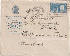 FRANCE 1951 LETTRE DE PARIS ENVELOPPE HOTEL LOUVOIS - Storia Postale