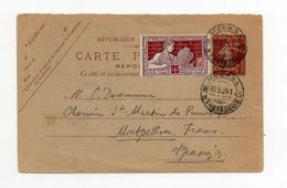 !!! ENTIER POSTAL, CARTE REPONSE 10C SEMEUSE UTILISEE EN RUSSIE EN 1925 - Standard Postcards & Stamped On Demand (before 1995)