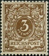 Dt. Reich 45a **, 1889, 3 Pf. Braun, Postfrisch, Pracht, Gepr. Zenker Und Fotoattest Jäschke-L., Mi. 400.- - Germany