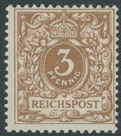 Dt. Reich 45cb **, 1899, 3 Pf. Ockerbraun, Postfrisch, Pracht, Gepr. Zenker, Mi. 130.- - Germany