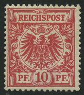 Dt. Reich 47I *, 1889, 10 Pf. Karmin Mit Plattenfehler T Von Reichspost Mit Querbalken, Falzrest, Pracht, Mi. 100.- - Germany