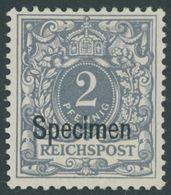 Dt. Reich 52SP *, 1900, 2 Pf. Lebhaftgrau, Falzrest, Pracht, Kurzbefund Jäschke-L., Mi. 100.- - Germany