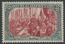 Dt. Reich 66II *, 1900, 5 M. Reichspost, Type II, Mehrere Falzreste, Feinst (ein Paar Stumpfe Zähne), Mi. 480.- - Germany
