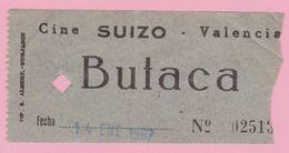 Espana Ticket Cine Suizo Valencia / 14 Ene. 1967 - Tickets - Vouchers
