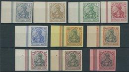 Dt. Reich 68-77U **, 1902, 2 - 80 Pf. Germania, Ohne Wz., Ungezähnt, Alle Einheitlich Mit Linkem Seitenrand, Postfrische - Germany