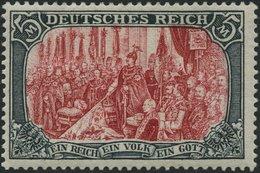 Dt. Reich 81Ab *, 1902, 5 M. Grünschwarz/dunkelkarmin, Karmin Quarzend, Gezähnt A, Ohne Wz., Falzrest, Pracht, Mi. 350.- - Germany