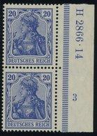 Dt. Reich 87Ia HAN Paar **, 1905, 20 Pf. Ultramarin Friedensdruck Im Senkrechten HAN-Paar H 2866.14 Und Plattennummer 3, - Germany