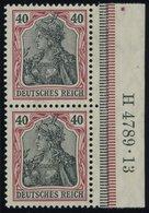 Dt. Reich 90I HAN Paar **, 1905, 40 Pf. Dunkelrötlichkarmin/schwarz Friedensdruck Im Senkrechten HAN-Paar H 4789.13, Pos - Germany