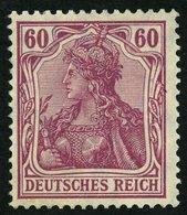 Dt. Reich 92Ia *, 1911, 60 Pf. Graulila Friedensdruck, Pracht, Gepr. Jäschke, Mi. 250.- - Germany