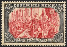 Dt. Reich 97AIM *, 1905, 5 M. Ministerdruck, Rahmen Dunkelgelbocker Quarzend, Feinst (Gummitönung Und Ein Kurzer Zahn),  - Germany