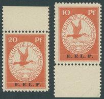 Dt. Reich V/VI **, 1912, 10 Und 20 Pf. E.EL.P., 2 Postfrische Randstücke, Pracht, Fotoattest Brettl, Mi. 2450.- - Germany