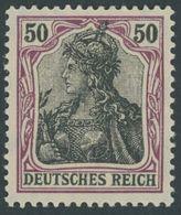 Dt. Reich 91IIy **, 1915, 50 Pf. Graulila/schwarz Auf Orangeweiß Kriegsdruck, Postfrisch, Pracht, Gepr. Zenker, Mi. 65.- - Germany