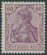 Dt. Reich 92IIc **, 1916, 60 Pf. Braunpurpur Kriegsdruck, Postfrisch, Pracht, Gepr. Dr. Hochstädter, Mi. 100.- - Germany