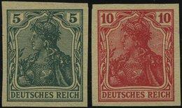 Dt. Reich 85/6IIV (*), 1915, 5 Und 10 Pf. Ungezähnt, Versuchsdrucke Auf Gelblichem Papier, Pracht, Mi. 300.- - Germany