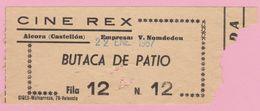 Espana Ticket Cine Rex - 22 Ene. 1967 Aleora Castellon - Tickets - Vouchers