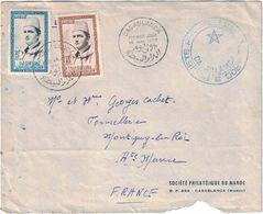 Maroc - Casablanca - Premier Jour 19 Mai 1956 - Société Philatélique Du Maroc - Lettre Pour La France - Maroc (1956-...)