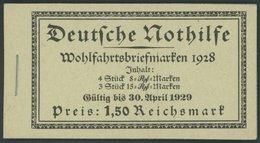 ZUSAMMENDRUCKE MH 27.2 **, 1928, Markenheftchen Nothilfe, Nicht Durchgezähnt, Heftchenblatt 65B, Pracht, Mi. 700.- - Zusammendrucke