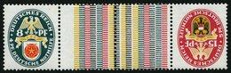 ZUSAMMENDRUCKE KZ 15 **, 1929, Nothilfe 8 + Z + Z + 8, Pracht, Mi. 250.- - Zusammendrucke