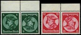 ZUSAMMENDRUCKE K 17/8 **, 1933, Fridericus 6 + 6 Und 12 + 12, Beide Kehrdrucke, Pracht, Mi. 80.- - Zusammendrucke