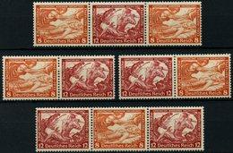 ZUSAMMENDRUCKE W 55-58 *, 1933, Wagner 12 + 8, 12 + 8 + 12, 8 + 12, 8 + 12 + 8, Falzrest, 4 Prachtwerte, Mi. 170.- - Zusammendrucke
